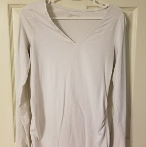 Gap Maternity White Cotton Stretch Long Sleeve T S